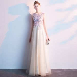 Elegant Champagne Prom Dresses 2019 A-Line / Princess Scoop Neck Appliques Lace Flower Sleeveless Floor-Length / Long Formal Dresses