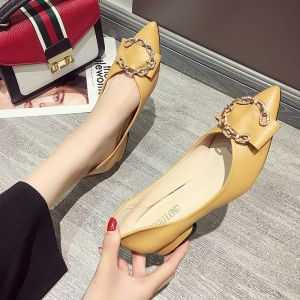 Modest / Simple Yellow Casual Rhinestone Womens Shoes 2020 3 cm Thick Heels Low Heel Pointed Toe
