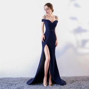 Sexy Bleu Marine Robe De Soirée 2017 Trompette / Sirène Bretelles Spaghetti Manches Courtes Métal Ceinture Fendue devant Tribunal Train Dos Nu Robe De Ceremonie