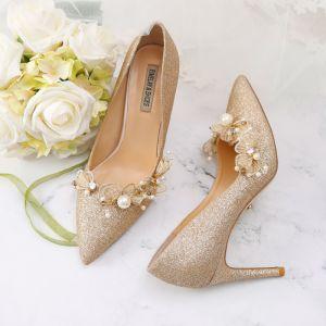 Scintillantes Doré Chaussure De Mariée 2019 Cuir Paillettes Appliques Perle 9 cm Talons Aiguilles À Bout Pointu Mariage Escarpins