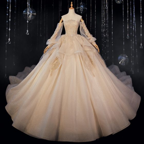 Victorian Style Champagne Bridal Wedding Dresses 2020 Ball Gown Off-The-Shoulder Puffy Long Sleeve Backless Appliques Lace Beading Glitter Tulle Cathedral Train Ruffle