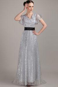V-neck Zipper Floor-length long Evening Dresses