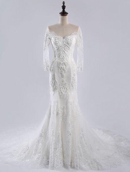 Lyx Sjöjungfru Bröllopsklänningar 2016 Urringning Applikationer Hjärtformad Spets Brudklänning Med Lång Svans