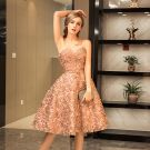 Modern / Fashion Champagne Party Dresses 2017 Sweetheart Sleeveless Ruffle Knee-Length Metal Sash