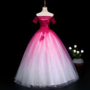 Chic / Beautiful Fuchsia Prom Dresses 2019 Ball Gown Off-The-Shoulder Beading Pearl Crystal Lace Flower Sequins Short Sleeve Backless Floor-Length / Long Formal Dresses