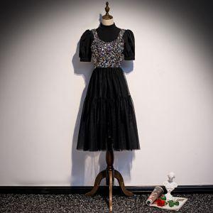 Vintage / Retro Black Party Dresses 2020 A-Line / Princess High Neck Puffy Short Sleeve Sequins Tea-length Ruffle Formal Dresses