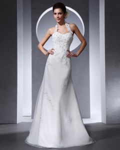 Halter Applique Beading Floor Length Organza Tulle Woman Mermaid Wedding Dress