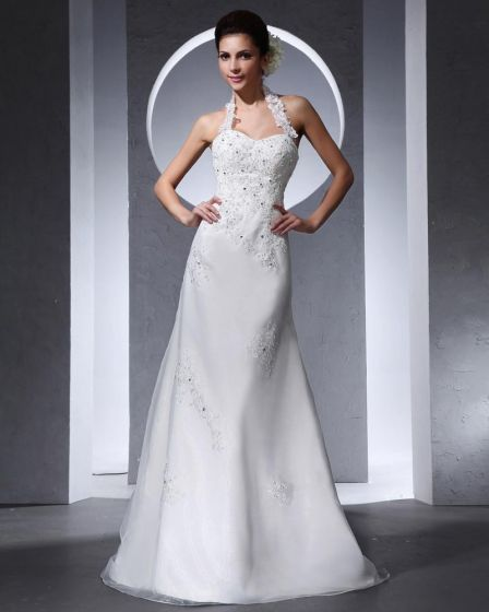 Halter Applique Beading Floor Length Organza Tulle Woman Mermaid Wedding Dress