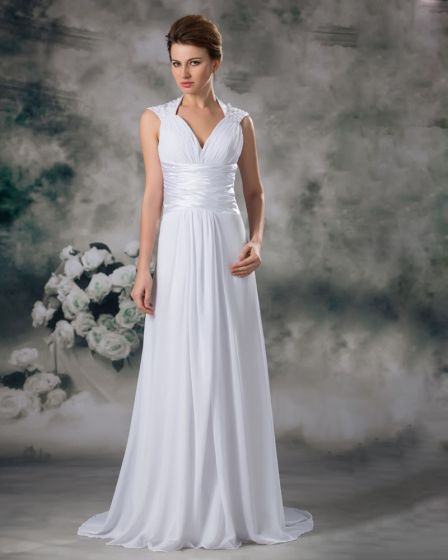 V Neck Pleated Applique Floor Length Chiffon Empire Wedding Dress