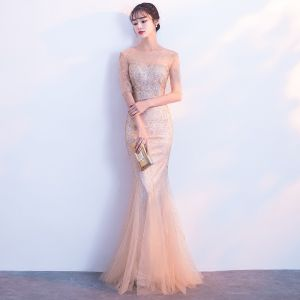 Chic / Beautiful Champagne See-through Evening Dresses  2019 Trumpet / Mermaid Scoop Neck 1/2 Sleeves Glitter Tulle Floor-Length / Long Formal Dresses