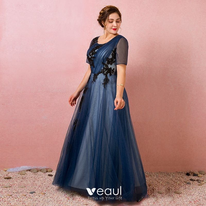 Classic Elegant Navy Blue Plus Size Evening Dresses 2018 A Line Princess U Neck Tulle Crossed Straps Appliques Backless Beading Summer Short Sleeve