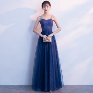 Bling Bling Royal Blue Starry Sky Evening Dresses  2018 A-Line / Princess Shoulders Beading Sleeveless Glitter Tulle Floor-Length / Long Ruffle Backless Formal Dresses