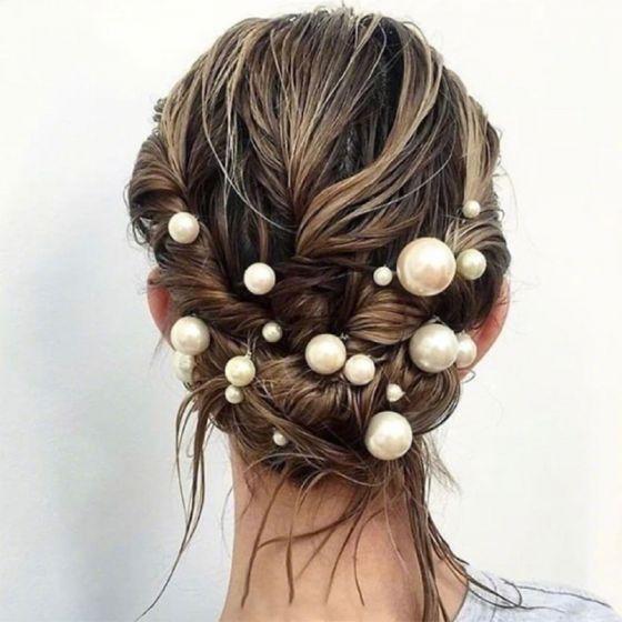 Schlicht Ivory / Creme Perle Kopfschmuck 2019 Metall Haarschmuck Braut
