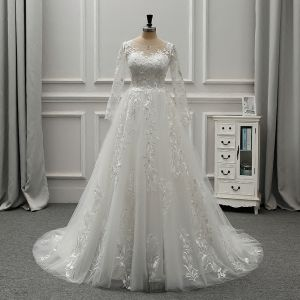 Elegant Ivory See-through Wedding Dresses 2019 A-Line / Princess Scoop Neck Long Sleeve Backless Appliques Lace Rhinestone Beading Pearl Court Train Ruffle