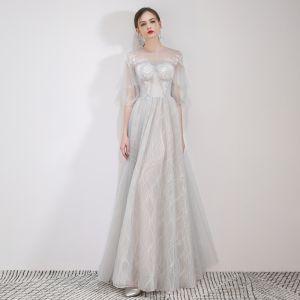 Elegante Grau Abendkleider 2019 A Linie Rundhalsausschnitt Applikationen Spitze Blumen 1/2 Ärmel Lange Festliche Kleider