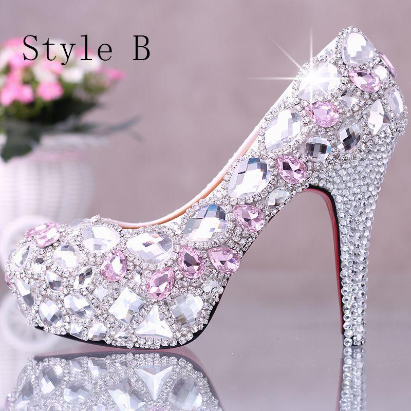 Sparkly Black 2018 High Heels 12 cm Beading Crystal Rhinestone Pumps Stiletto Heels Pointed Toe Wedding Prom Womens Shoes