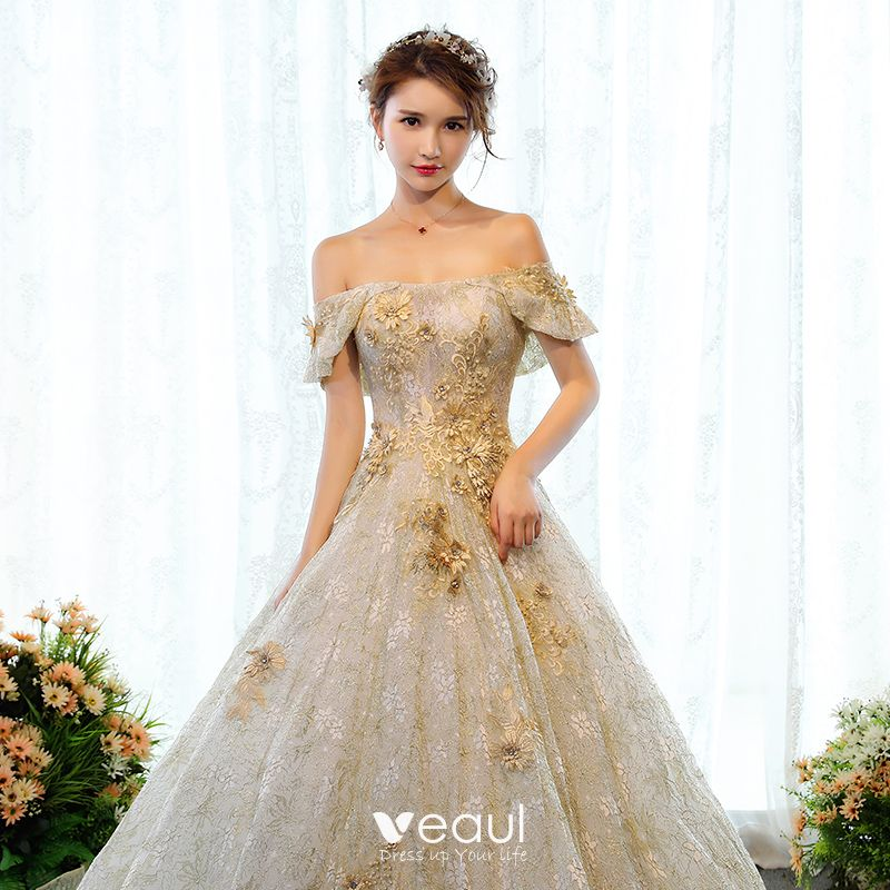 Luxury / Gorgeous Gold Wedding Dresses 2018 Ball Gown