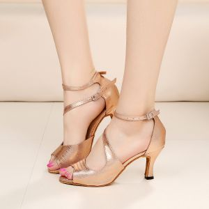 Luxury / Gorgeous Rose Gold Latin Dance Shoes 2020 Summer Dancing Prom Ankle Strap Suede 8 cm Sandals Open / Peep Toe Womens Shoes