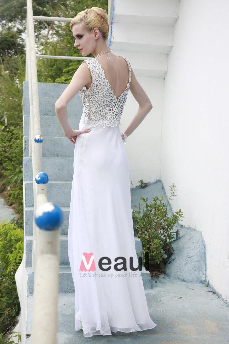 Charmeuse Mesh Tencel Beading Pleated V Neck Floor Length Evening Dresses