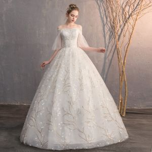 Affordable Ivory Wedding Dresses 2019 Ball Gown Off-The-Shoulder 1/2 Sleeves Backless Appliques Lace Sequins Floor-Length / Long