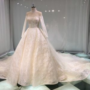 Luxury / Gorgeous Champagne See-through Wedding Dresses 2019 Princess Scoop Neck Long Sleeve Backless Appliques Lace Pearl Beading Glitter Tulle Cathedral Train Ruffle