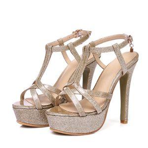 Mooie / Prachtige Gala Sandalen Dames 2017 PU T-Strap Plateau Hoge Haken Peep Toe Sandalen