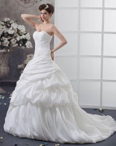 Taffeta Ruffles Beading Applique Court Empire Bridal Gown Wedding Dress