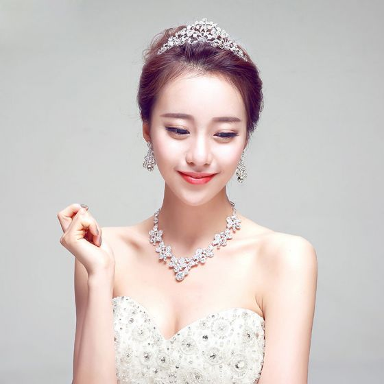 Shine Rhinestone Bridal Jewellery Wedding Tiara / Earrings / Necklace Three-piece