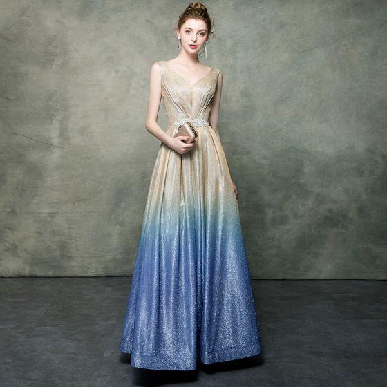 3f8ebd6315 Elegant Champagne Gradient-Color Royal Blue Evening Dresses 2019 A-Line    Princess V-Neck Sleeveless Rhinestone ...