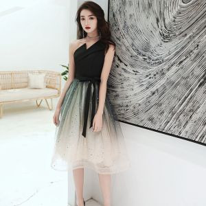 Chic / Beautiful Black Gradient-Color White Homecoming Graduation Dresses 2020 A-Line / Princess One-Shoulder Sleeveless Sash Star Sequins Tea-length Ruffle Backless Formal Dresses