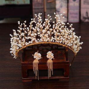 Mooie / Prachtige Goud Bruids Haaraccessoires 2020 Metaal Kralen Tiara Oorbellen Huwelijk Accessoires
