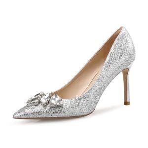 Scintillantes Argenté Chaussure De Mariée 2018 Faux Diamant Paillettes Cuir 8 cm Talons Aiguilles À Bout Pointu Mariage Escarpins