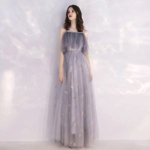 Niedrogie Szary Sukienki Wieczorowe 2019 Princessa Spaghetti Pasy Bez Rękawów Cekinami Cekiny Długie Wzburzyć Bez Pleców Sukienki Wizytowe