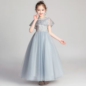 Hermoso Gris Vestidos para niñas 2019 A-Line / Princess Scoop Escote Manga Corta Apliques Con Encaje Rebordear Perla Rhinestone Largos Ruffle Vestidos para bodas