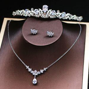 Klassisk Silver Tiara Halsband Örhängen Bröllop Tillbehör 2019 Metall Rhinestone Brudsmycken
