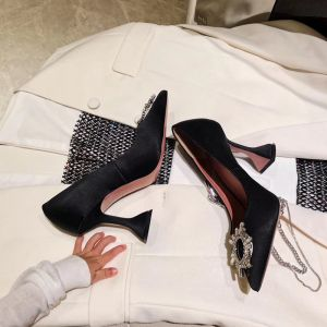 Classy Black Cocktail Party Leather Pumps 2020 Crystal 9 cm Stiletto Heels Pointed Toe Pumps