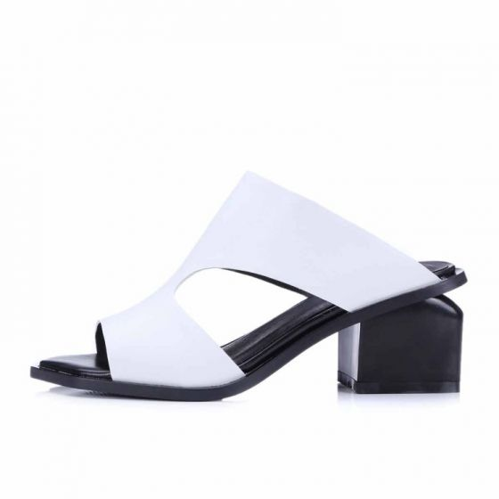 Chic / Beautiful Mid Heels Womens Sandals 2017 Leather Handmade  Thick Heels Open / Peep Toe Outdoor / Garden Sandals