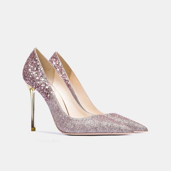 Scintillantes Or Rose Paillettes Chaussure De Mariée 2021 Cuir 10 cm Talons Aiguilles À Bout Pointu Mariage Escarpins Talons Hauts