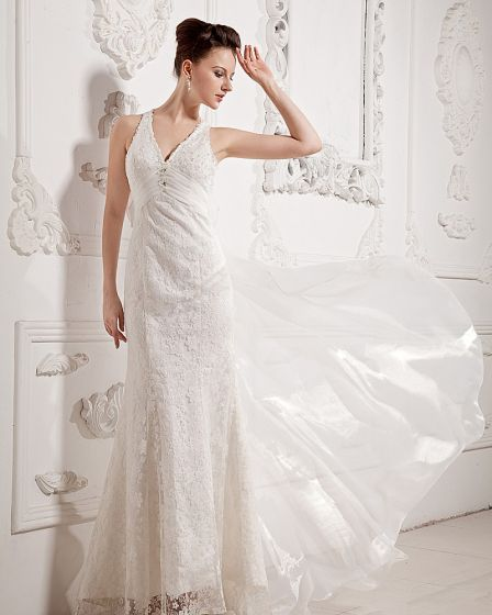 Chiffon Lace Beading V Neck Court Sheath Bridal Gown Wedding Dresses
