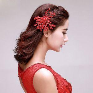 Perles De Mariée La Coiffure / Fleur Rouge De La Tete / Accessoires De Cheveux De Mariage / Bijoux De Mariage