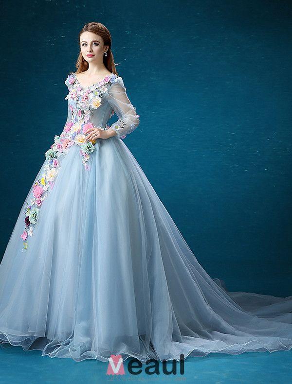 Blumen Fee Kleid 2016 Langen Ärmeln Backless Handgemachten Bunten Blumen Lang Ballkleid