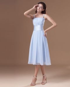 Chiffon Ruffle Spaghetti Straps Tea Length Bridesmaid Dress