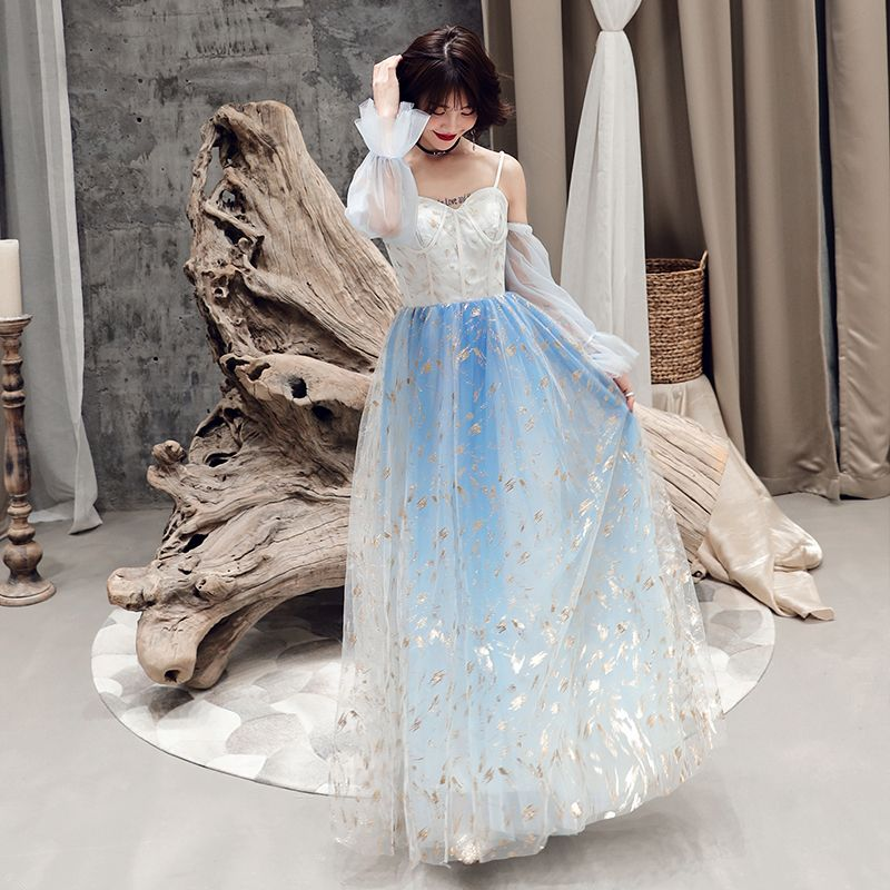 Modern / Fashion Sky Blue Evening Dresses  2019 A-Line / Princess Spaghetti Straps Sequins Long Sleeve Backless Floor-Length / Long Formal Dresses