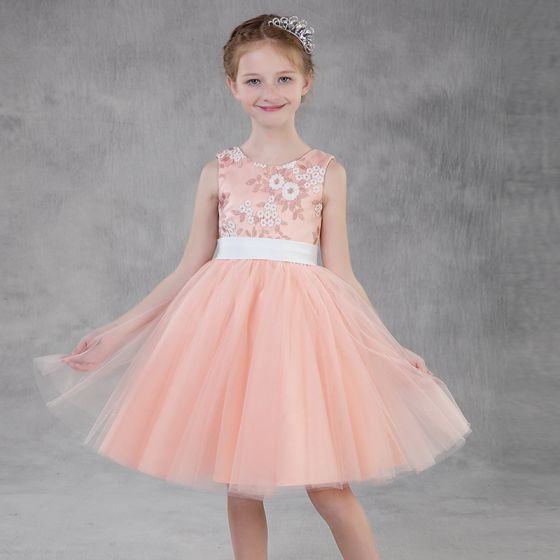 Hermoso Perla Rosada Vestidos para niñas 2018 A-Line / Princess Scoop Escote Sin Mangas Apliques Con Encaje Cinturón Cortos Ruffle Vestidos para bodas