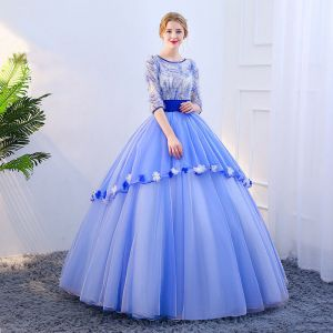 Vintage / Retro Sky Blue Prom Dresses 2019 Ball Gown Scoop Neck Appliques Sequins Tassel 1/2 Sleeves Backless Floor-Length / Long Formal Dresses