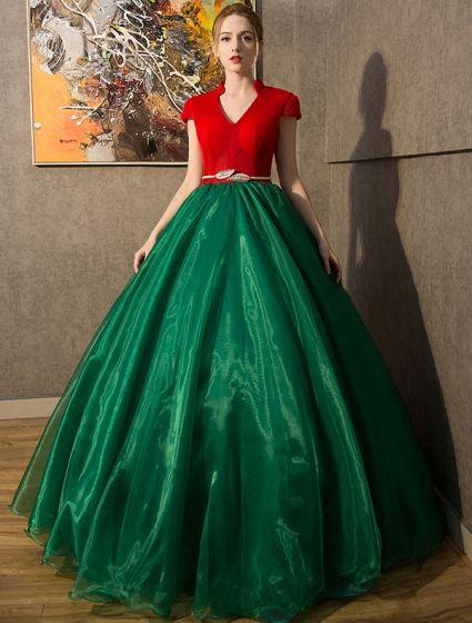 Vintage Galajurken 2016 V-hals Rood Tule Donkergroene Organza Lange Jurk Met Kapmouwtjes