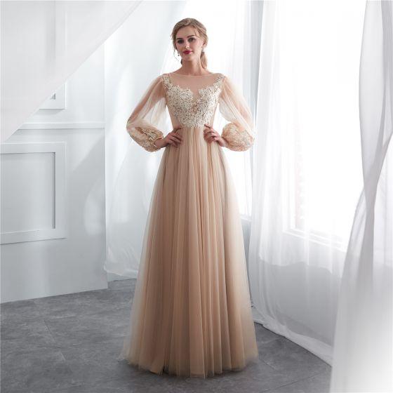 Elegantes Champán Transparentes Vestidos de noche 2018 A-Line   Princess  Escote Cuadrado Manga Larga Apliques Con Encaje ... bd3373172733