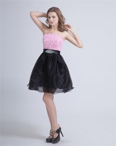 Crepe Strapless Knee-Length Graduation Dress