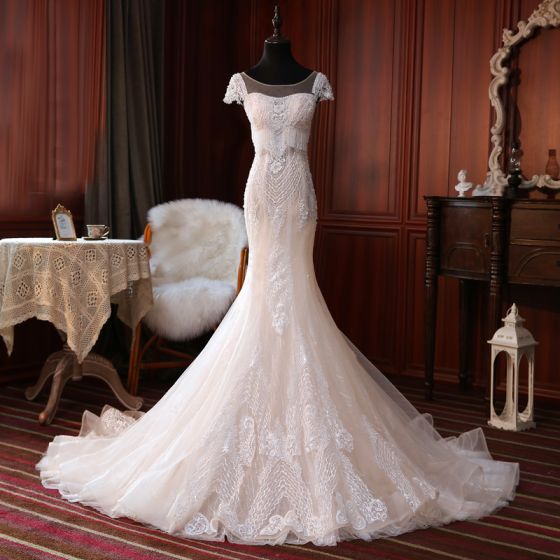 Luxury / Gorgeous Champagne Bridal Wedding Dresses 2020 Trumpet / Mermaid See-through Square Neckline Short Sleeve Backless Appliques Lace Handmade  Beading Tassel Court Train Ruffle