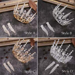 Mooie / Prachtige Rhinestone Bruidssieraden 2020 Metaal Tiara Kwast Oorbellen Huwelijk Accessoires